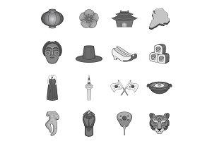 Japan icons set, gray monochrome
