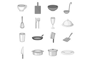 Kitchen utensil icons set, gray