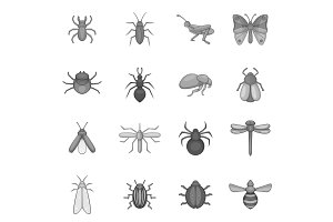 Insect icons set, gray monochrome