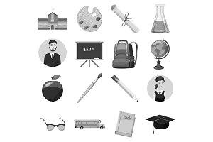School icons set, gray monochrome