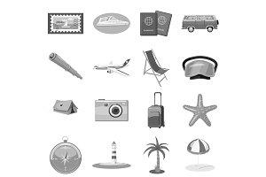 Beach holiday icons set, gray