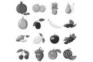 Fruit icons set, gray monochrome