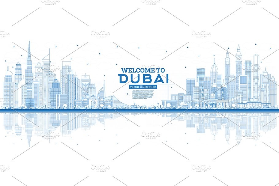 Outline Welcome to Dubai UAE Skyline ~ Illustrations