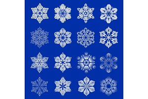 Snowflake icons set, simple style