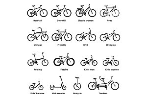 Bicycle types icons set, simple