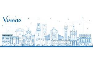 Outline Verona Italy City Skyline