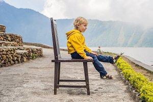 Boy at the lake Bratan and the