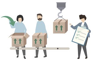 Workers packing goods illustration