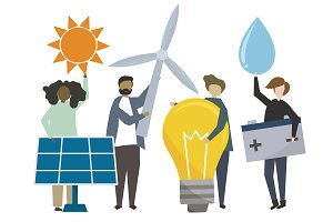 People with sustainable energy icons