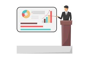 Leader Giving Presentation on Vector