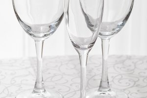 Line of empty wine glasses
