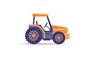 Excavator Tractor Vehicle Isolated