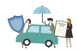 People with car insurance concept