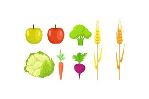 Apple, Broccoli, Cauliflower, Carrot