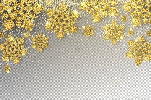 Huge Golden Snowflakes Vector