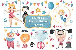 Circus retro watercolor clipart set