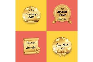 Holidays Best Offer Label on Gold