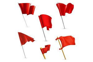 Red flags, vector icons