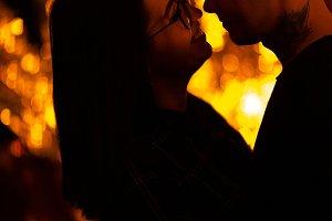 Girl and boyfriend on light sunshine