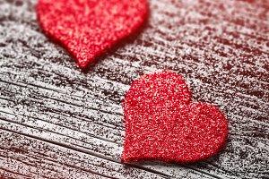 Red felt love hearts