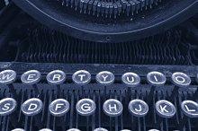 Vintage typewriter blue