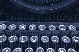 Vintage typewriter blue