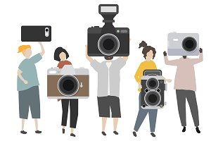 Group of photographers with camera