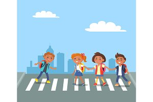 Kids Crossing Road in City Cartoon