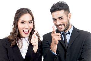 Businessman business woman points