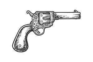 Vintage cowboy revolver engraving