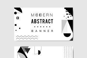 Modern black white geometric banner