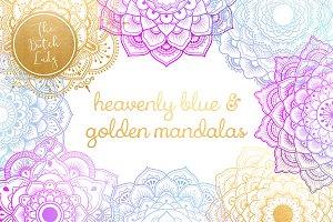 Mandala Clipart in Blue & Gold