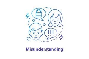 Misunderstanding concept icon