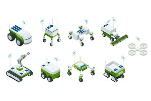 Isometric set of iot smart industry