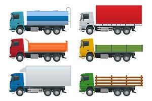 Flat trucks set isolated realistic