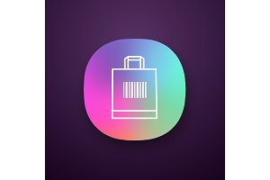 Shopping bag with barcode app icon