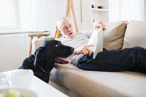 A happy senior man lying on a sofa
