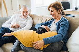 A happy senior couple sitting on a