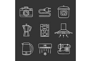 Household appliance chalk icons set