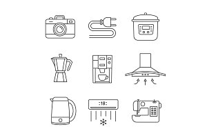 Appliance linear icons set