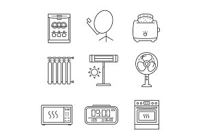 Household appliance linear icons set