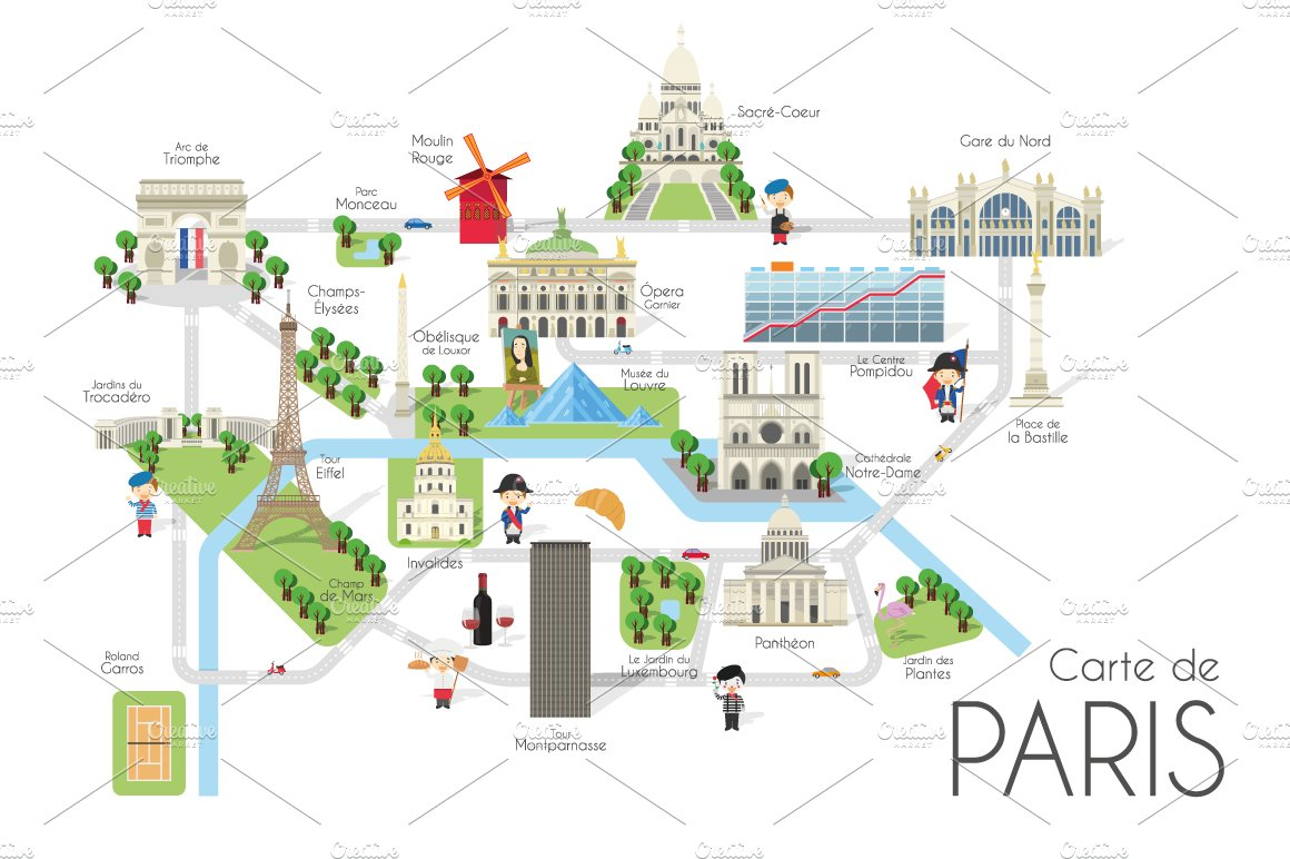 Cartoon Map Of Paris Pre Designed Illustrator Graphics Creative Market