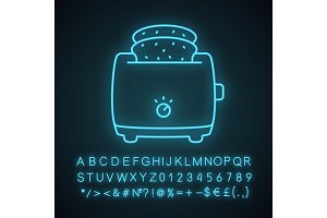 Slice toaster with toast neon icon