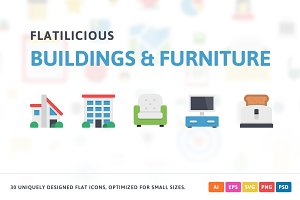 Buildings & Furniture Flat Icons