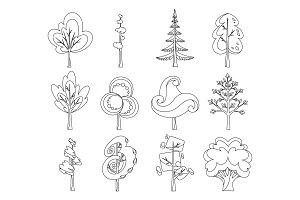 Decorative trees icon set. Flat