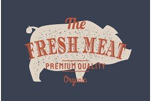 Pig, pork. Vector vintage logo