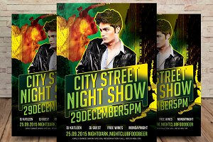 City Street Night Show Party Flyer