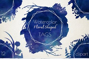 Watercolor Floral Shaped Navy Tags