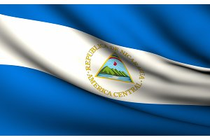Flying Flag of Nicaragua . All