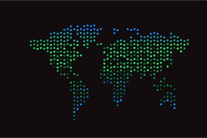 World map halftone neon color green